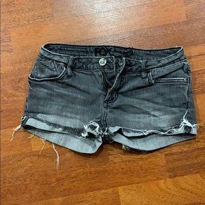 Grey jean cuffed short shorts